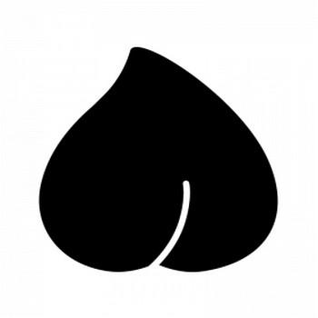 桃のシルエット | 無料のAi・PNG白黒シルエットイラスト