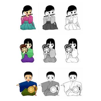 能楽イラスト+++ フリー素材「囃子イラスト」