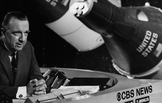 Walter Cronkite with NASA manned-flight capsules