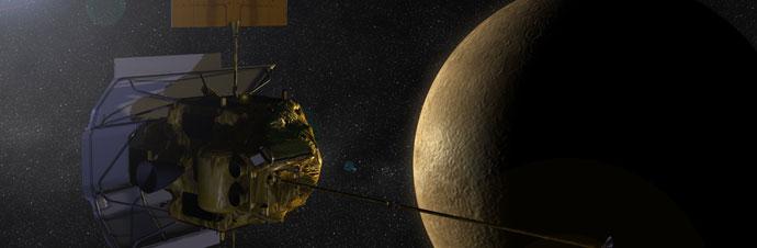 Artist's impression of Messenger flying past Mercury | Image: NASA