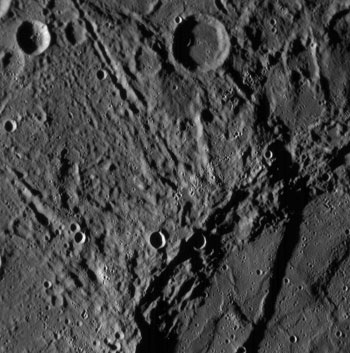First image of Mercury detailed in this close up from Messenger