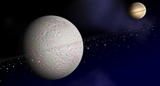 An artist's impression of Rhea's rings | Image: NASA