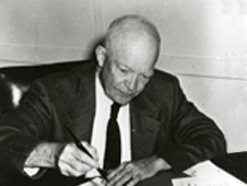 President Eisenhower signing the National Aeronautics and Space Act - U.S. Naval Photographic Center