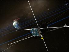 Artist rendering of the THEMIS satellite circling Earth