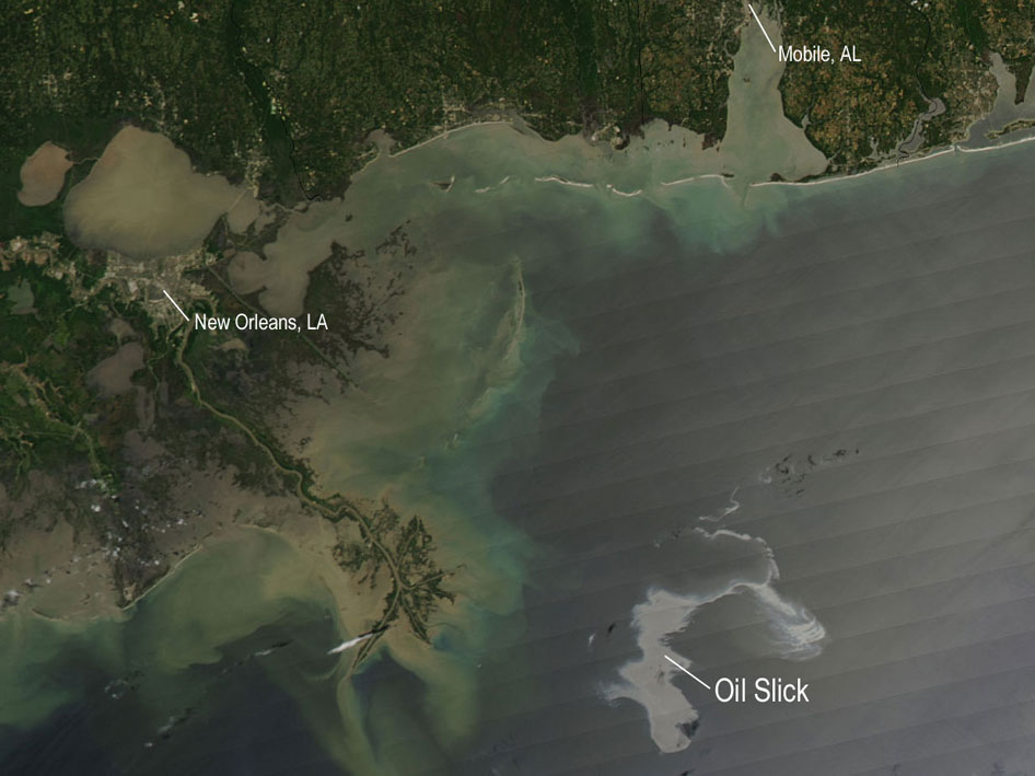 Oil Slick Spreads off Gulf Coast  NASA's Aqua satellite captured this image of the Gulf of Mexico on April 25, 2010 using its Moderate Resolution Imaging Spectroradiometer (MODIS) instrument. With the Mississippi Delta on the left, the silvery swirling oil slick from the April 20 explosion and subsequent sinking of the Deepwater Horizon drilling platform is highly visible.