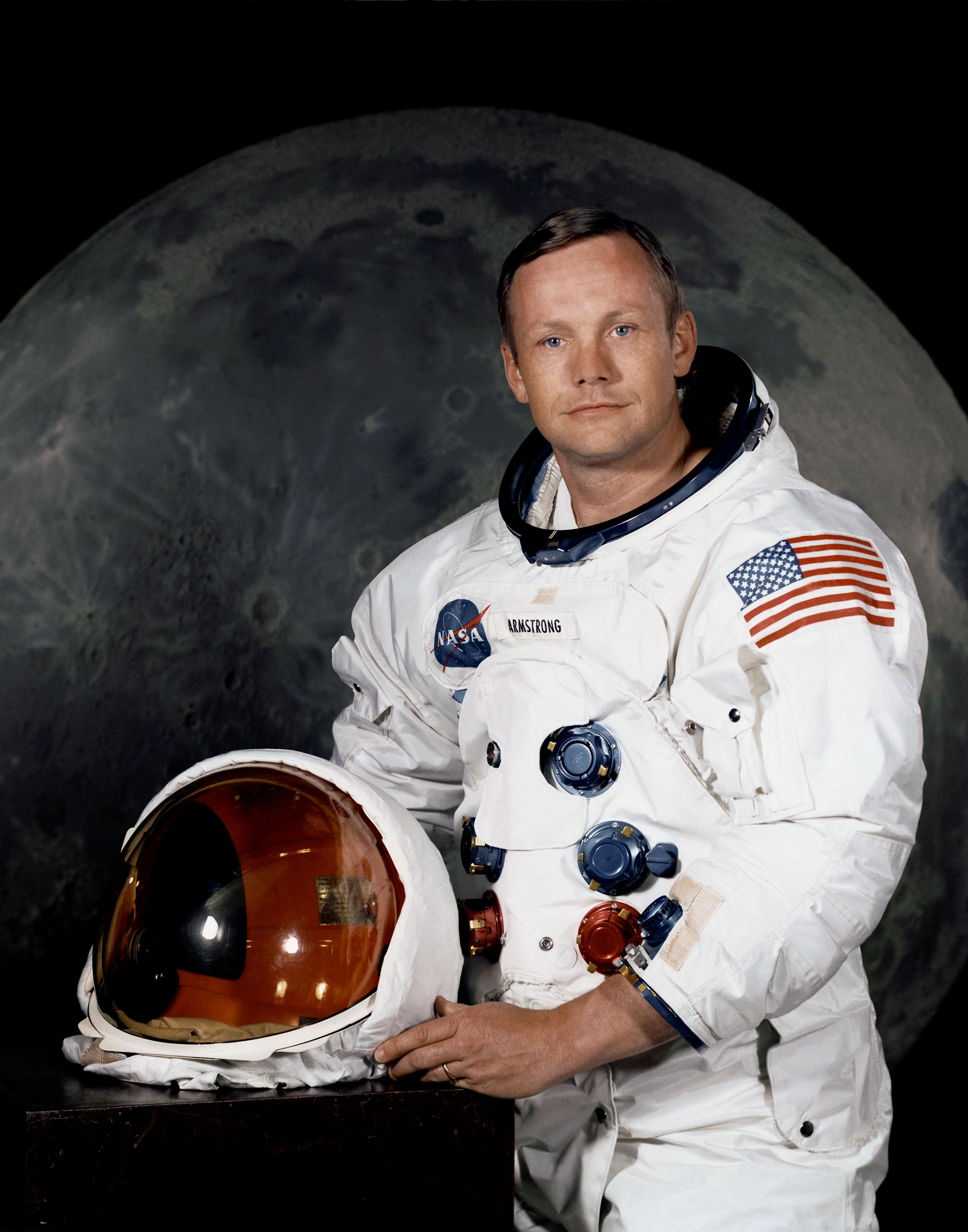 Neil Armstrong in astronaut suit.