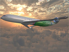 Artist's concept of a more environmentally friendly aircraft to enter service in 2025.
