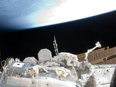 STS-133 Mission Specialists Steve Bowen and Alvin Drew participate in the mission's first spacewalk.