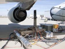 emissions detection equipment set up behind NASA's DC-8 flying laboratory during ground tests