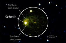 Hubble and Swift images of Scheila combined