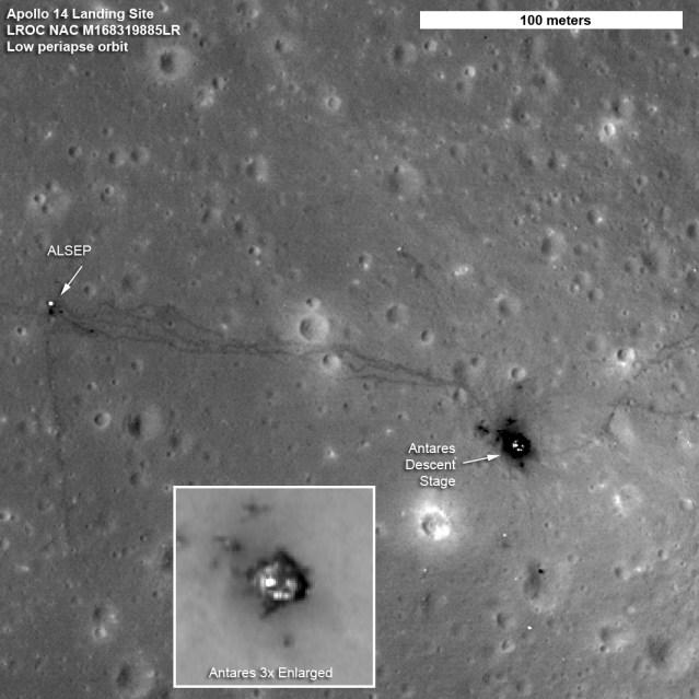 Fotografia in alta definizione del sito d'allunaggio dell'Apollo 14 scattata dal Lunar Reconnaissance Orbiter o LRO