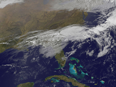 GOES Satellite image of storm front blowing off US's East Coast