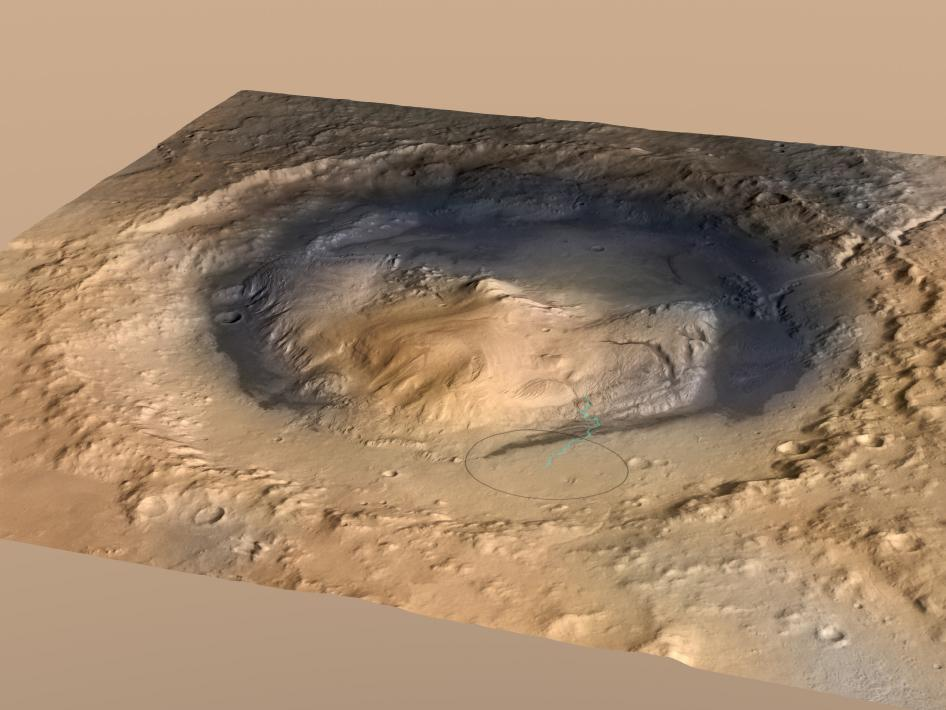 Oblique view of Mount Sharp
