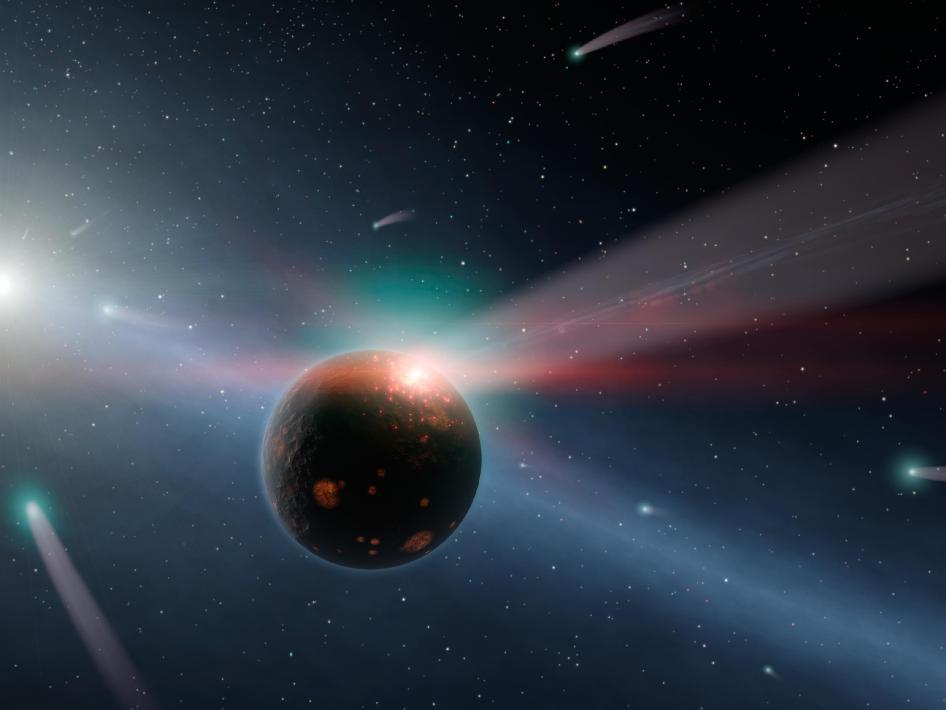 Una tormenta de cometas alrededor de una estrella Eta Corvi