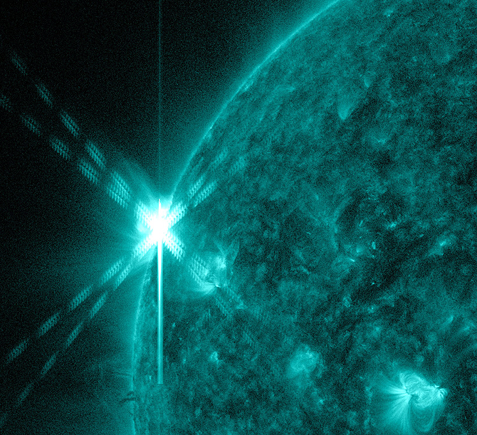 SDO recorded this view of an M5.6 class solar flare at 9:01pm EDT on August 17, 2012.