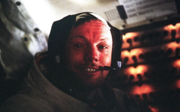 Neil Armstrong in the lunar module Eagle during the Apollo 11 mission -- 1969. Credit: NASA.