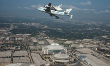 The SCA and Endeavour fly over Houston