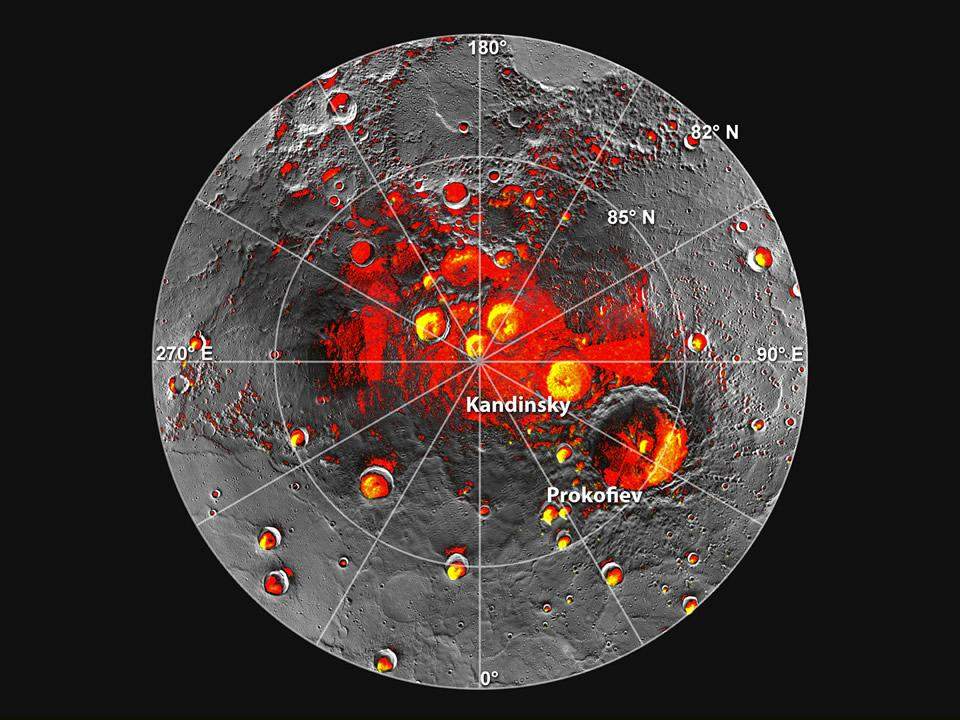 Permanently Shadowed Polar Craters Shown in red are areas of Mercury's north polar region that are in shadow in all images acquired by MESSENGER to date. Image coverage, and mapping of shadows, is incomplete near the pole. The polar deposits imaged by Earth-based radar are in yellow (from Image 2.1), and the background image is the mosaic of MESSENGER images from Image 2.2. This comparison indicates that all of the polar deposits imaged by Earth-based radar are located in areas of persistent shadow as documented by MESSENGER images. Updated from N. L. Chabot et al., Journal of Geophysical Research, 117, doi: 10.1029/2012JE004172 (2012). Image Credit: NASA/Johns Hopkins University Applied Physics Laboratory/Carnegie Institution of Washington/National Astronomy and Ionosphere Center, Arecibo Observatory (original release)