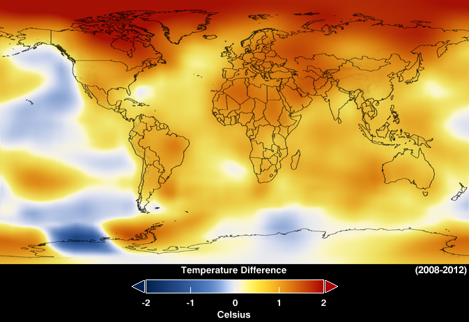 NASA map, global temperature anomalies averaged from 2008 to 2012 - Goddard Institute for Space Studies