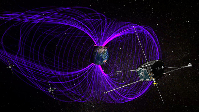 Earth is surrounded by a giant magnetic bubble, called the magnetosphere. THEMIS' satellites orbit within this.
