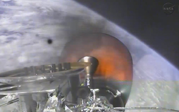 The SpaceX Dragon spacecraft in space following launch from Kennedy Space Center. Image Credit: NASA TV