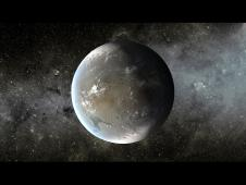 An artist's concept of Kepler-62f against a starry background.