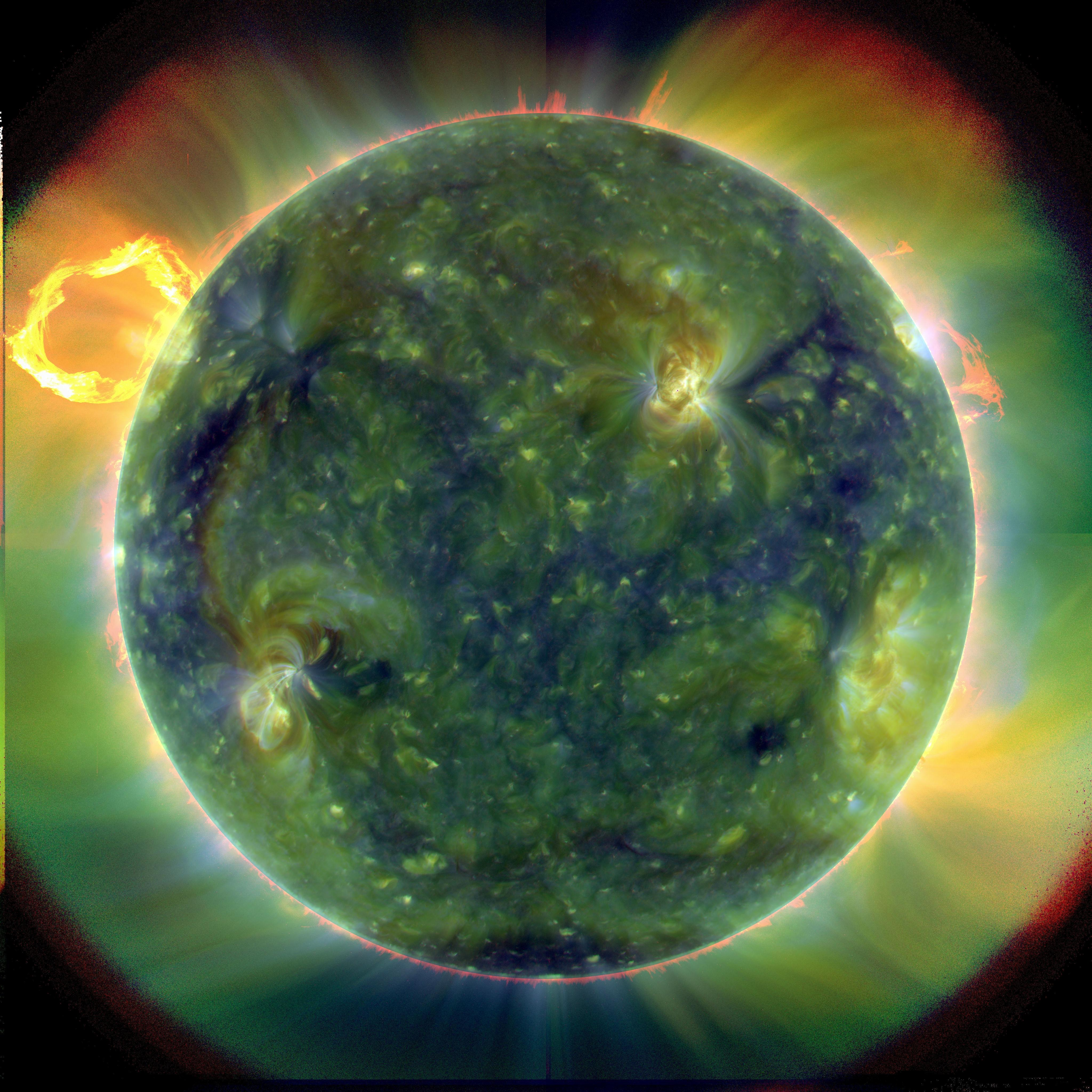 A full-disk multiwavelength extreme ultraviolet image of the sun taken by SDO on March 30, 2010. False colors trace different gas temperatures. From NASA