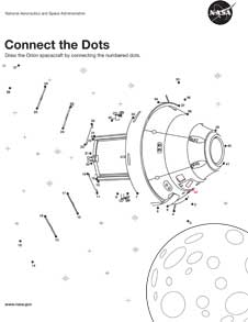 orion activities and coloring sheets for kids nasa