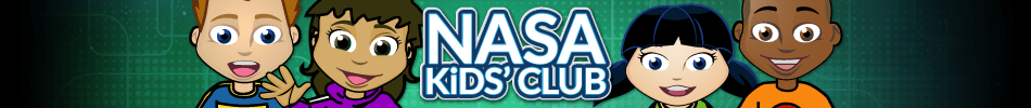 A group of young, animated characters against a colorful background with the words NASA Kids' Club