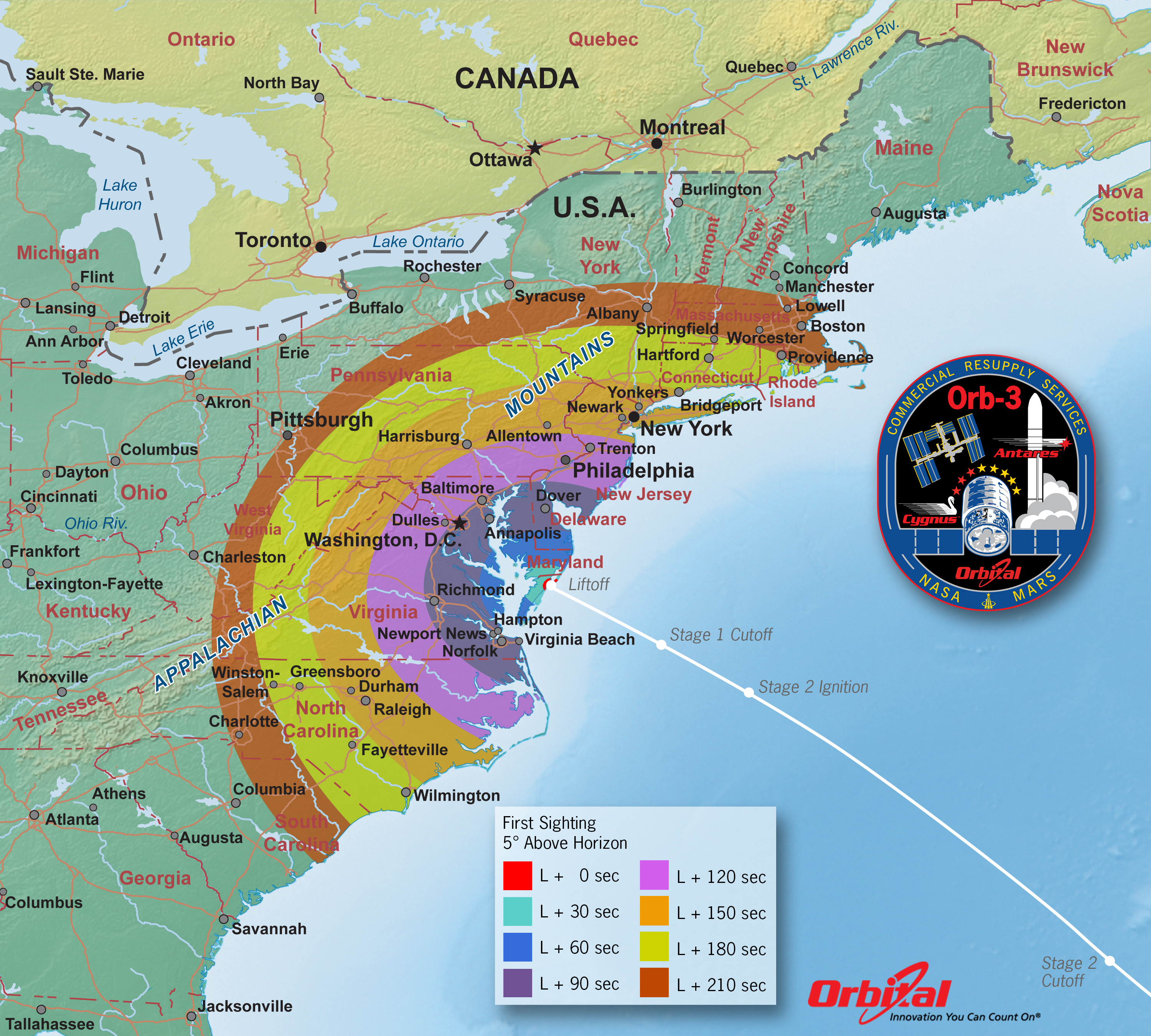Orbital 3 Launch Viewing Map     First Sight   NASA Orbital 3 Launch Viewing Map     First Sight