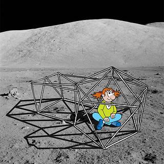 Cartoon girl sitting on the moon under a habitat