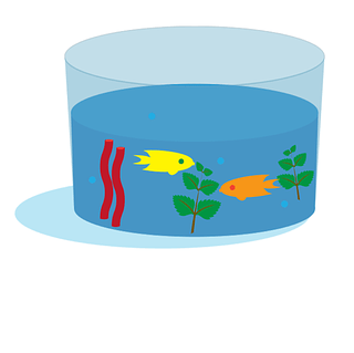 Cartoon ocean ecosystem in a clear container