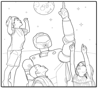 Black and white drawing of three children and a robot pointing to the sky