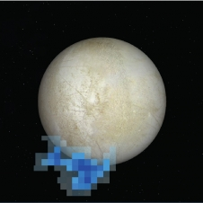 Graphic shows the location of water vapor detected over Europa's south pole