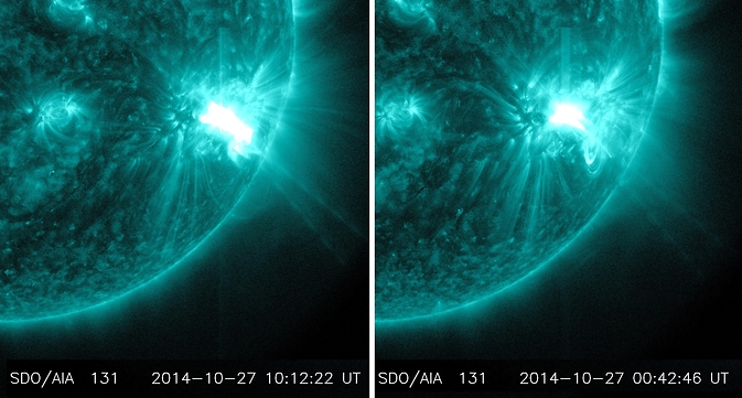 two blue images of sun with bright flare lower right