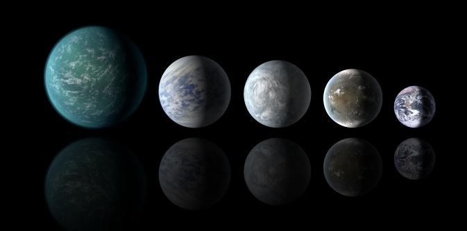 Relative sizes of all of the habitable-zone planets discovered to date alongside Earth. Left to right: Kepler-22b, Kepler-69c, Kepler-62e, Kepler-62f and Earth (except for Earth, these are artists' renditions). Image credit: NASA Ames/JPL-Caltech