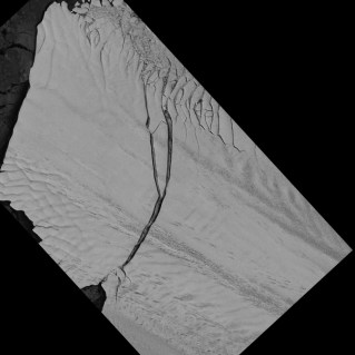 Image of the Pine Island Glacier ice shelf from the German Aerospace Center Earth monitoring satellite TerraSAR-X captured on July 8, 2013.