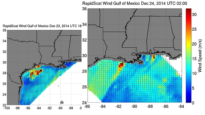 Rapidscat images of high winds in the Gulf of Mexico