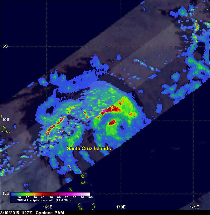 TRMM sees thunderstorms in Pam