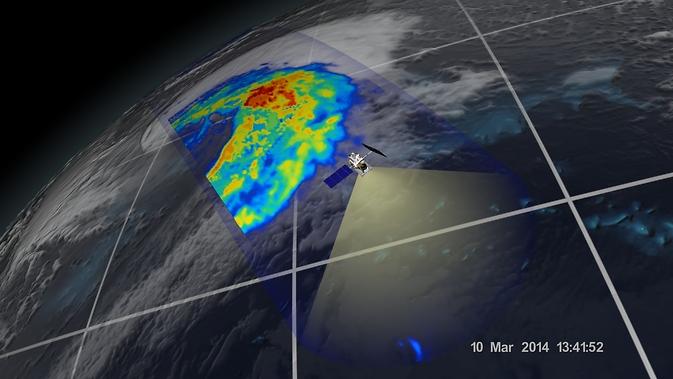 Un ciclon extra-tropical văzut în largul coastelor Japoniei, 10 martie 2014, prin GPM cu microunde Imager.