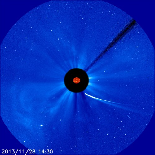 Comet ISON moves ever closer to the sun in this image from ESA and NASA's Solar and Heliospheric Observatory captured at 9:30 a.m. EST on Nov. 28, 2013.