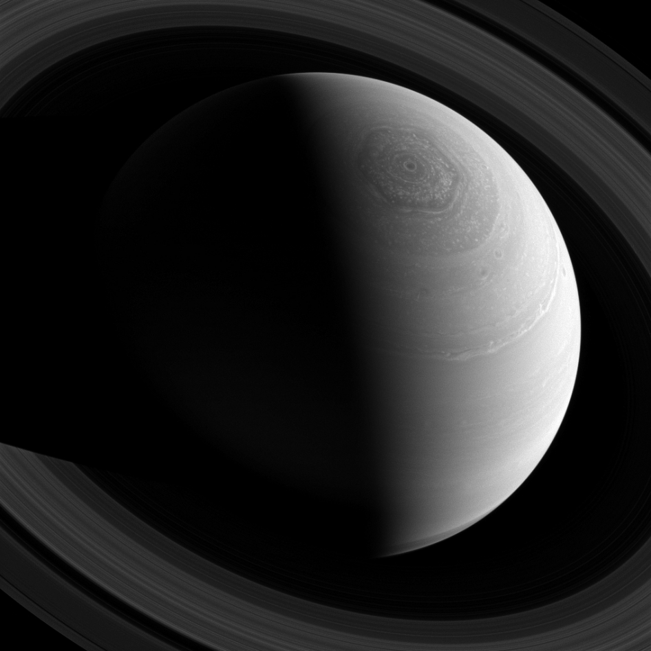 This view looks toward the sunlit side of Saturn's rings from about 43 degrees above the ringplane. The image was taken with the Cassini spacecraft wide-angle camera on Nov. 23, 2013 using a spectral filter that preferentially admits wavelengths of near-infrared light centered at 752 nanometers.