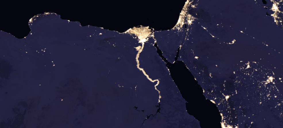 composite image of Nile River and surrounding region at night, 2016