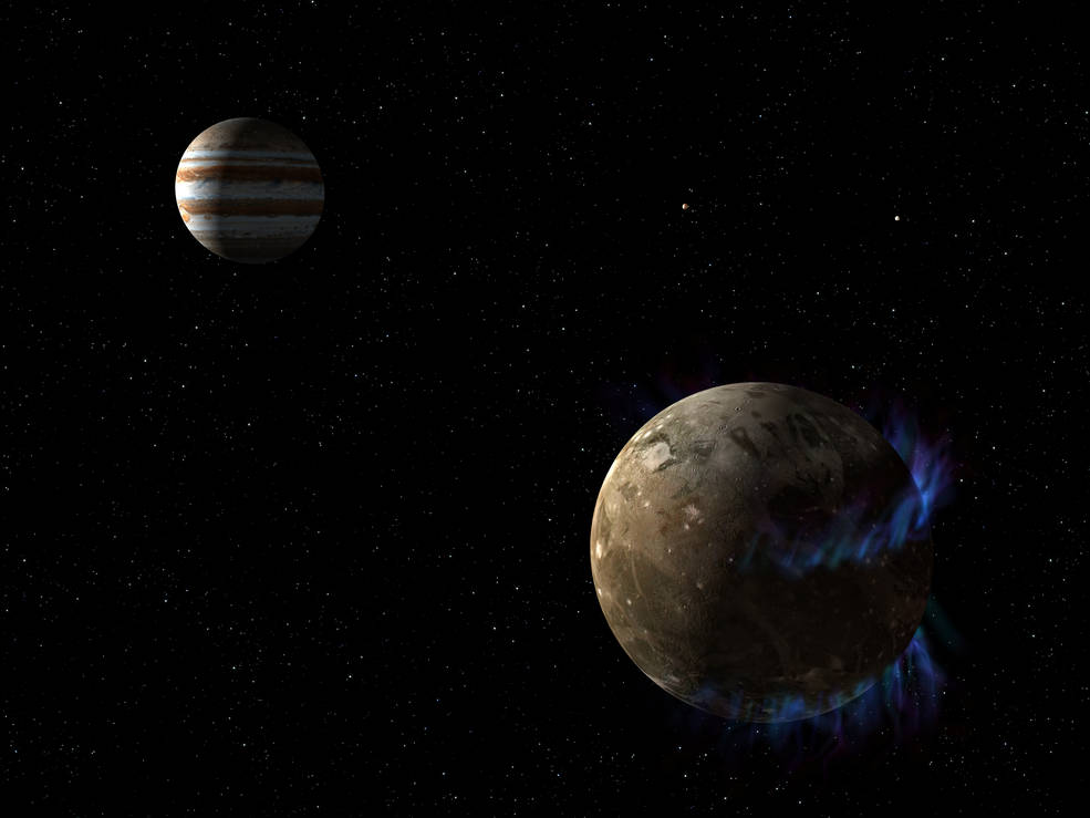 Artist concept of Ganymede orbiting Jupiter.