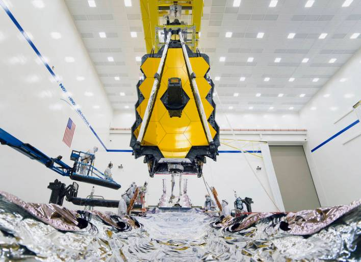 technicians and engineers successfully connect the two halves of NASA's James Webb Space Telescope