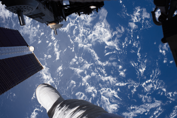 view of earth from a space walk