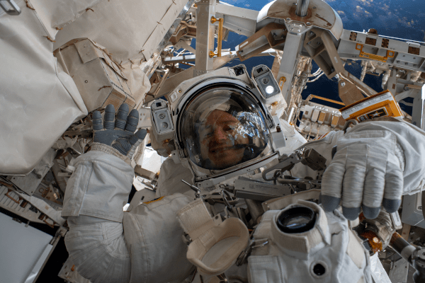 andrew morgan during a space walk