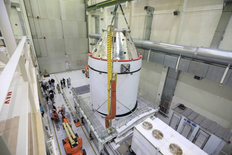 Orion is revealed for one of the final times on Jan. 14, as it is readied atop its transport pallet.