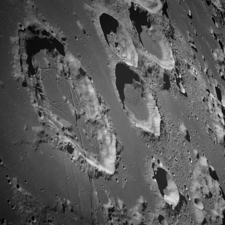 Black and white image of the large Moon crater Goclenius