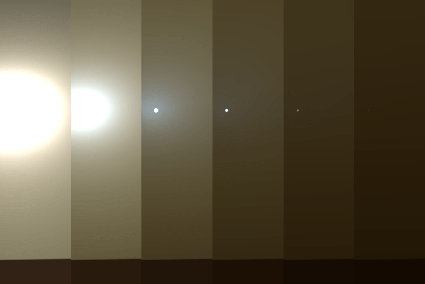 Simulated views of a darkening Martian sky